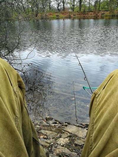 Fishing Legs Lake No Fish Cold Windy Water Lake Reflection Low Section Sky