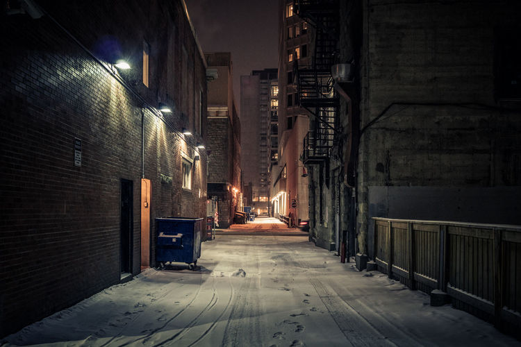 Calgary alley, winter time at night Night Illuminated Architecture The Way Forward Building Exterior Direction Built Structure Building City Street Lighting Equipment No People Empty Alley Street Light Footpath Calgary Alberta Winter Snow Cold Temperature