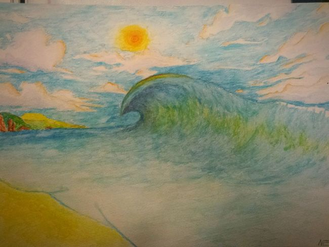 Drawing Getting Inspired Waves Crashing Zaap'sdraws From My Point Of View Colorful Life Is A Beach Ocean Sea Seascape Sky And Clouds