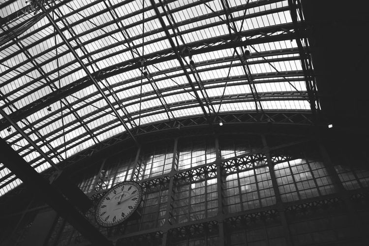 Architecture Built Structure Clock Clock Face Day Indoors  Low Angle View Minute Hand No People Time Train Station