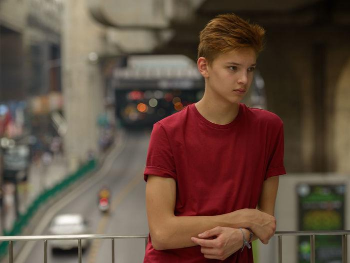 Portrait of teenage boy looking at camera