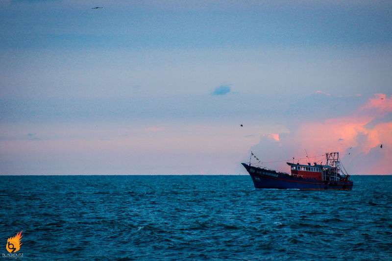 First Eyeem Photo Sea Sunset Bliss Canon Red Blue Sky Boat Sailed
