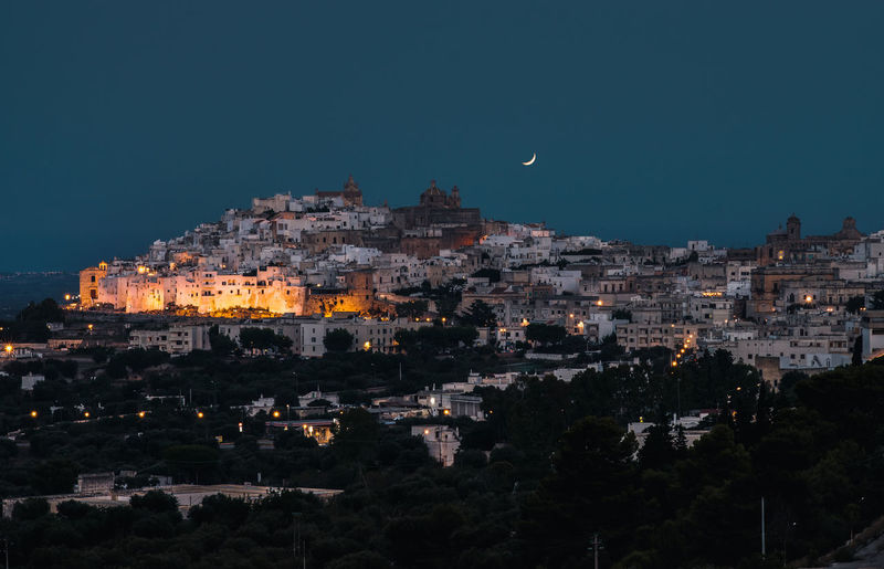 Building Exterior Architecture City Built Structure Sky Night Cityscape Residential District Moon Nature No People Building Illuminated Dusk Community Outdoors Clear Sky High Angle View TOWNSCAPE Nightlife Puglia Puglia South Italy Moonlight Hill Ostuni