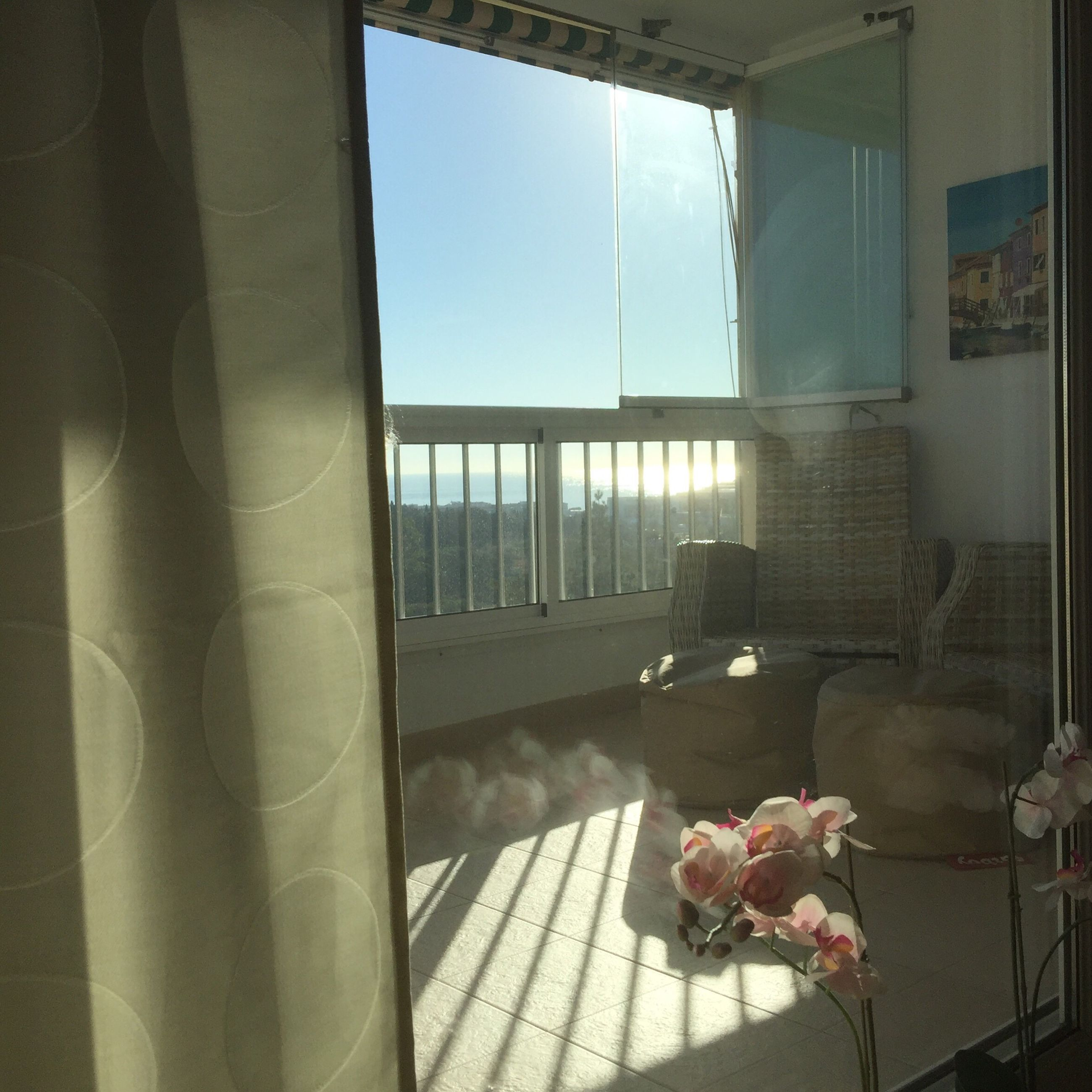window, indoors, home interior, flower, chair, freshness, curtain, day, sea, fragility, nature, tourist resort, window frame
