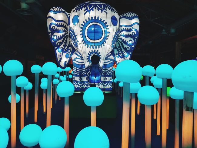 Festival Lights Festival Elephant Lightbulb Blue Light Mushroom EyeEm Selects Multi Colored Close-up Chinese Lantern Festival Traditional Festival Lighting Equipment Decoration Electric Light Fairy Lights