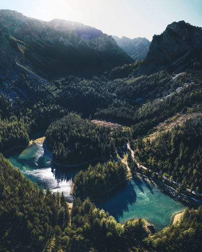 High angle view of river amidst trees and mountains