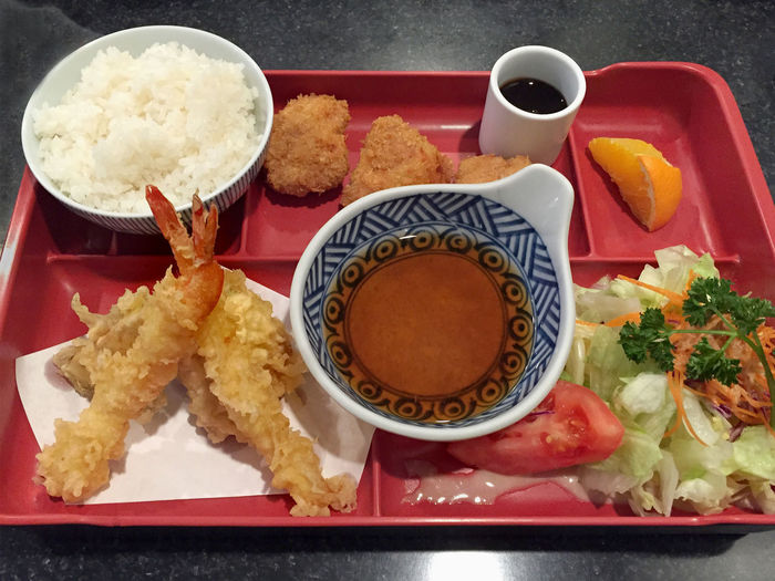 Tempura with pork tenderloin, set lunch at Japanese cafe in Los Angeles, CA Close-up Food Freshness Japanese  Japanese Food Lunch Box Meal No People Ready-to-eat Rice Served Serving Size Still Life Tempura