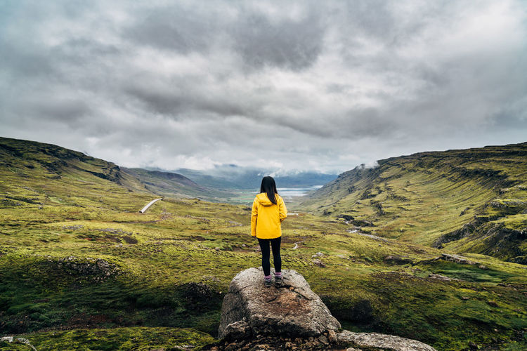 Adventure Beauty In Nature Cloud - Sky Day Full Length Healthy Lifestyle Iceland Landscape Leisure Activity Lifestyles Mountain Nature One Person One Woman Only Only Women Outdoors People Real People Rural Scene Scenics Sky Women Young Adult Lost In The Landscape