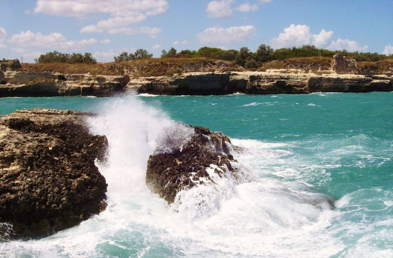 Power Traveling Wanderlust Nature Puglia Lecce Wave Sea Water Motion Beach Crash Sky Force Breaking Ocean Rock Tide Coast Shore Power In Nature Horizon Over Water Crashing Rugged Stone Boulder