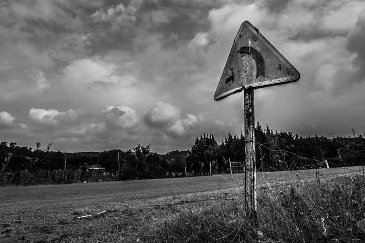 Turn ! Black Black & White Black And White Cloud - Sky Clouds Communication Countryside Dirt Road Field Landscape Light Morocco Outdoors Pole Road Sky Storm Street Sun Symbol Taking Photos Tranquil Scene Tranquility Travel White