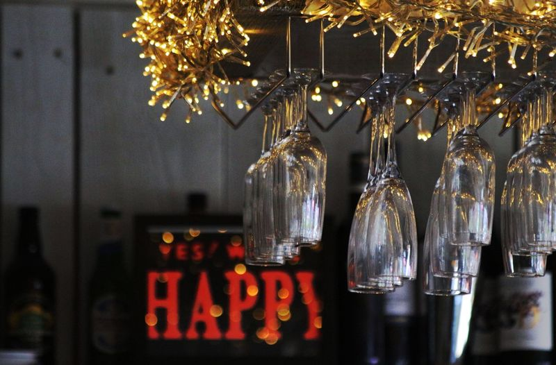 Happy hour ... :) Display Glasses Fairy Lights Hanging Lighting Equipment Illuminated Decoration No People Night Restaurant Bar - Drink Establishment Business Arrangement Glowing Large Group Of Objects Indoors  In A Row Focus On Foreground