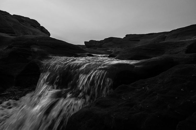 Low angle view of waterfall