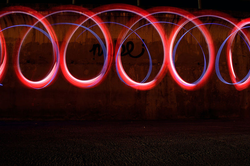 Red light painting at night
