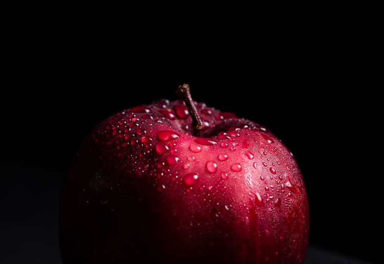 Healthy Eating Studio Shot Food And Drink Red Black Background Freshness Fruit Wellbeing Indoors  Food Apple - Fruit Close-up Single Object No People Drop Water Dew Wet Still Life Copy Space Ripe