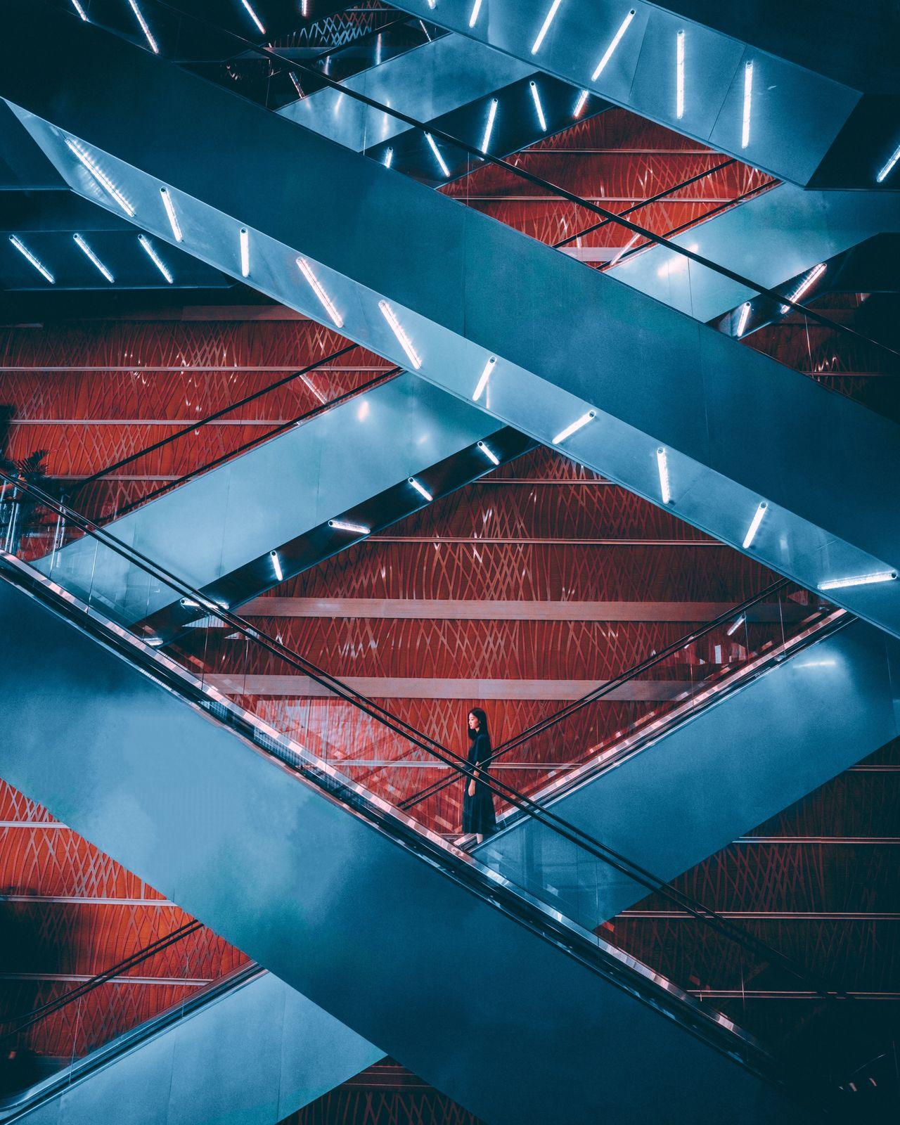 architecture, red, built structure, staircase, real people
