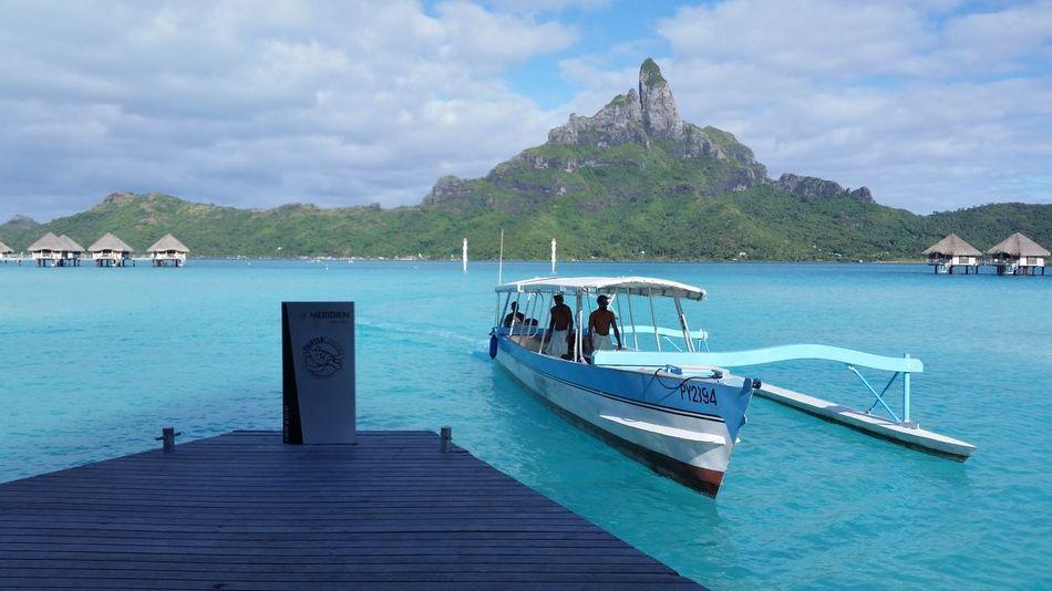 Blue Wave Boat Bora Bora  Turquoise Water Idyllic Travel Blue Sky Seascape Sea View Original Experiences Color Of Life Transportation