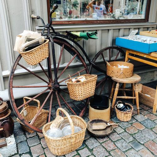 Wicker baskets for sale at flea market