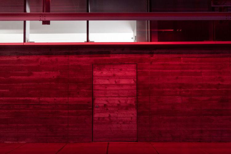 Red Architecture Wall City Window Building Exterior Night Door