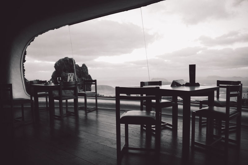 Canary Islands Lanzarote SPAIN Travel Volcanoes B&w Business Cafe Chair Cloud - Sky Day Flooring Food And Drink Geological Formation Glass - Material Indoors  Island Landscape Nature No People Restaurant Sea Seat Sky Table Transparent Volcanic  Volcano Wood - Material
