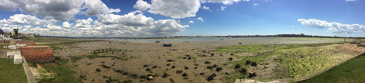A panoramic view of Langstone Harbour. Langstone Harbour  Panoramic Landscape Panoramic Panorama Sea Harbour View Harbour Boats