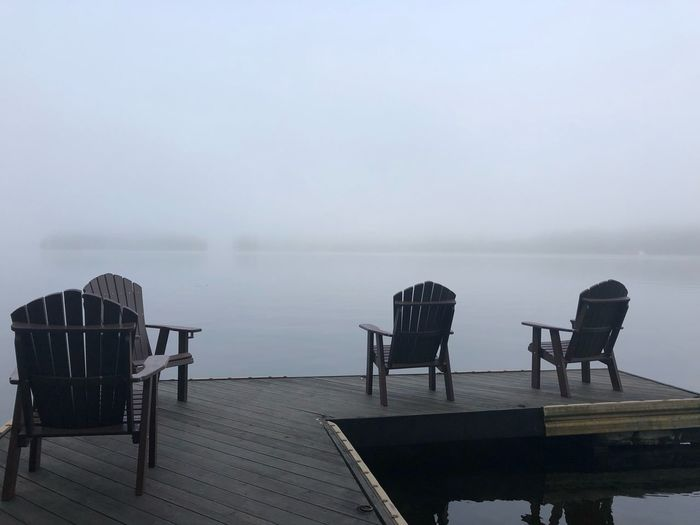ADK mountains Water Seat Chair Sky Nature Fog Sea Tranquility