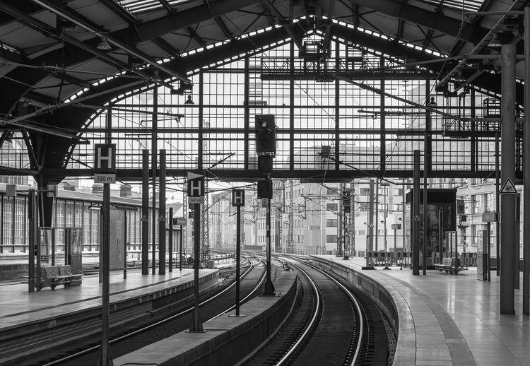 Railroad station platform in city
