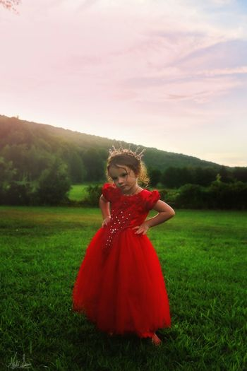Princess Daughter Kids Being Kids Summertime Colors Little Girl Attitude Child Photography Beautiful Little Girls Dress Dressing Up Outdoors Child Portrait Full Length Girls Red Front View Young Women Sky Grass