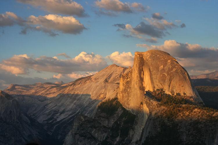 Half dome mountain at sunset, yosemite, ca, usa