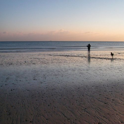 Bean dog walk and shoulder carry. Beach Sunset Sand Sea Seaside Grandad