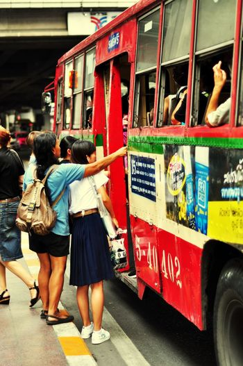 Bus Oksk Photopackers Bangkok Thailand Transportation Mode Of Transportation Real People Rear View
