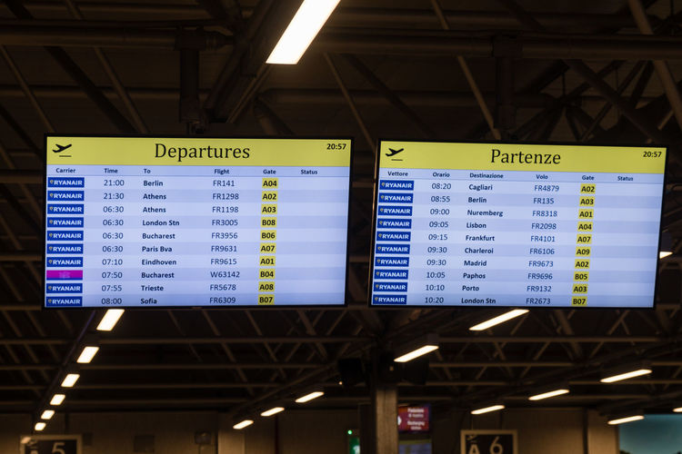 Rome, Italy - September 7, 2017: Electronic flights departures timetable board in Ciampino G. B. Pastine airport Ciampino Airport Delay Delayed DelayedFlight Timetable Airport Departure Departures Fliying Information Medium Information Sign Signboard Time Time Table Be. Ready.