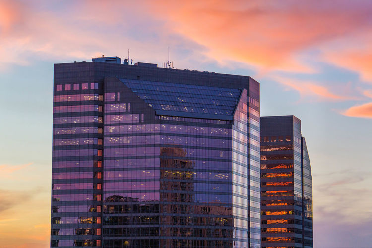 Pink Blue Sky Clouds Dusk Magenta Office Building Reflections Skyscraper Sunset