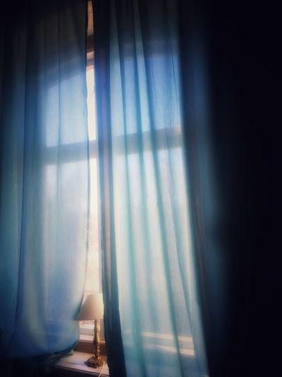 Glowing Curtin Turquoise Pastel Power Sunshine Morning Light Springtime Enjoying Life Window View