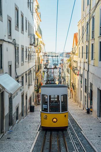 Tram on street amidst buildings in city