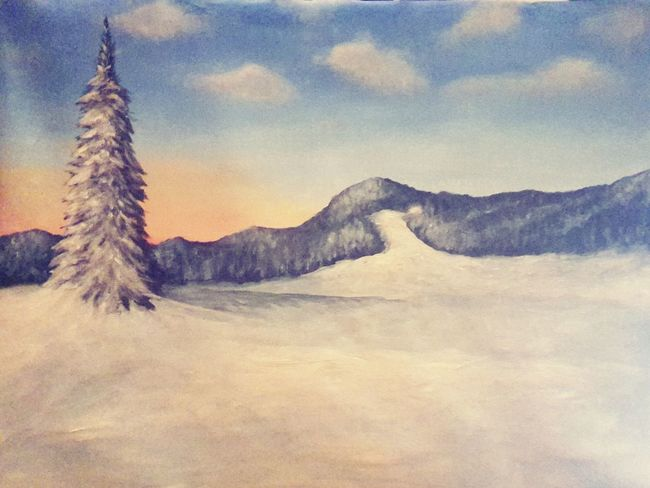Painting Winter Sunset Love Art Enyoing The Sun ArtWork Mypainting