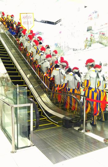 marching mall guards #colorful #guards #marching #mall #philippines #TheLandmark City first eyeem photo