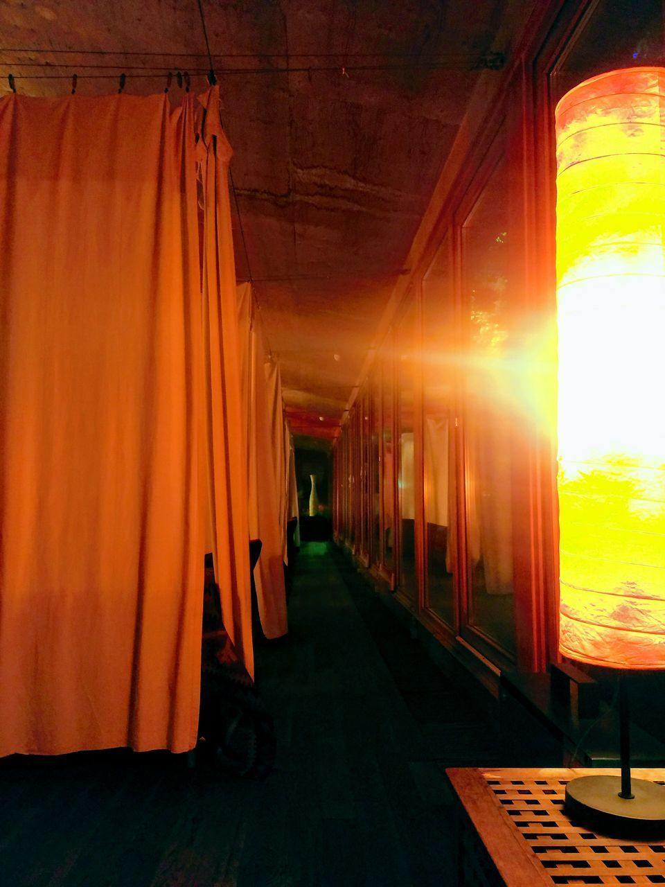 CORRIDOR OF BUILDING AT SUNSET