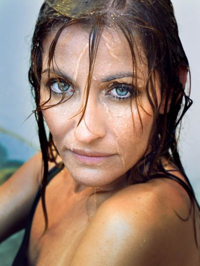 Portrait of woman with wet face