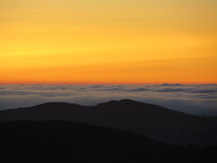 Sunset Beauty In Nature Nature Tranquility Tranquil Scene Scenics Silhouette Majestic No People Landscape Mountain Sky Outdoors Day Cloud Inversion Perspectives On Nature California Dreamin