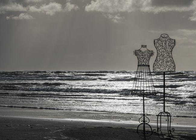 Sea Beach Horizon Over Water Water Beauty In Nature Outdoors Raglan Nz Raglan Black & White Mannequin