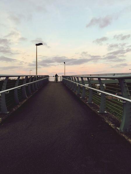 Silence Sunset Sky Bridge Man On Bike Tranquility Biking Around EyeEmNewHerе
