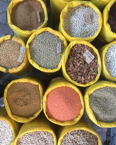 Full frame shot of spices for sale at market stall