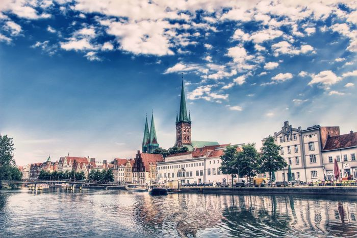 Riverview Marienkirche Lutheran Church Lübeck River Blue Sky Hdrphotography Hdroftheday Hdrlovers Hdr_pics HDR Collection