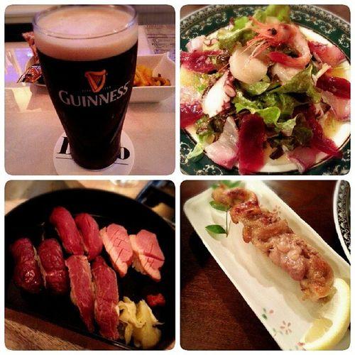 深夜に。 黒ビール 海鮮 サラダ 肉寿司 焼鳥BeerBier MeeresfrüchteSalategegrilltesHähnchenFleischsaladseafoodchickenmeatSushi肉