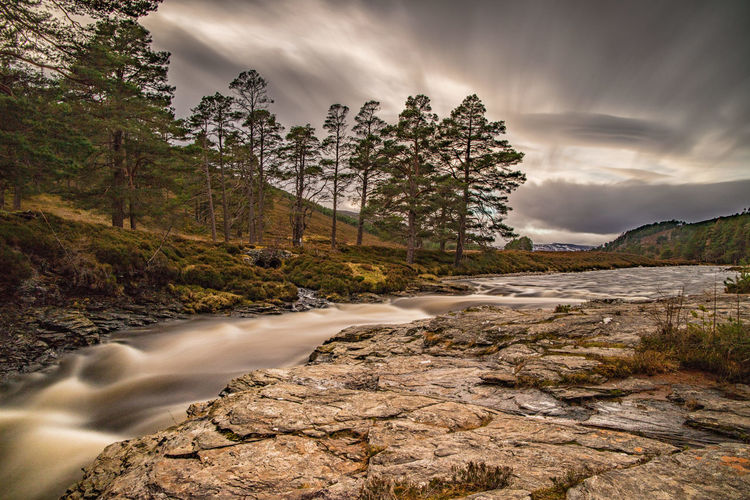 The Linn of Dee on the Mar Lodge Estate. Cairngorms, Scotland  Linn Of Dee Scotland Sky And Clouds Braemar Long Exposure River Trees And Sky