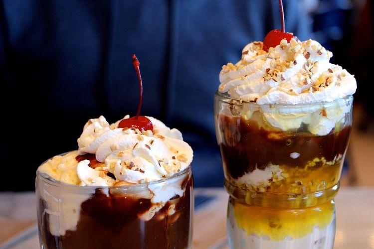 Close-up of ice cream sundae in glass