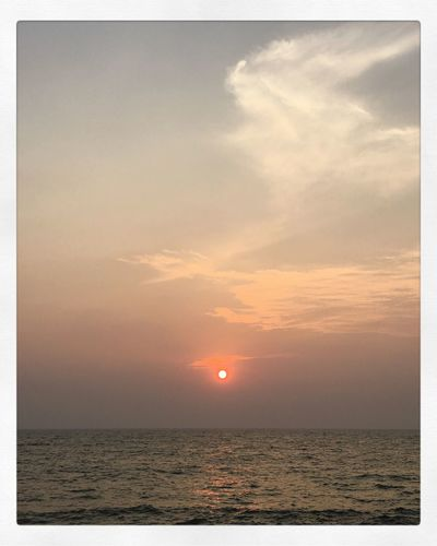 Like a polaroid sunset.. IPhoneography Sea Horizon Over Water Scenics Tranquil Scene Water Tranquility Beauty In Nature Sky Nature Sunset Horizon No People Rippled Sun EyeEmNewHere