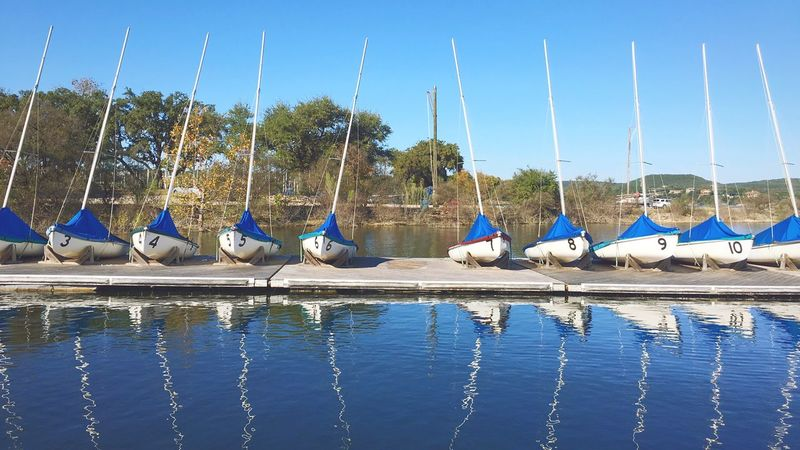 In line Blue Nature Water Clear Sky Day Beauty In Nature Outdoors Nautical Vessel No People Animal Themes Sky
