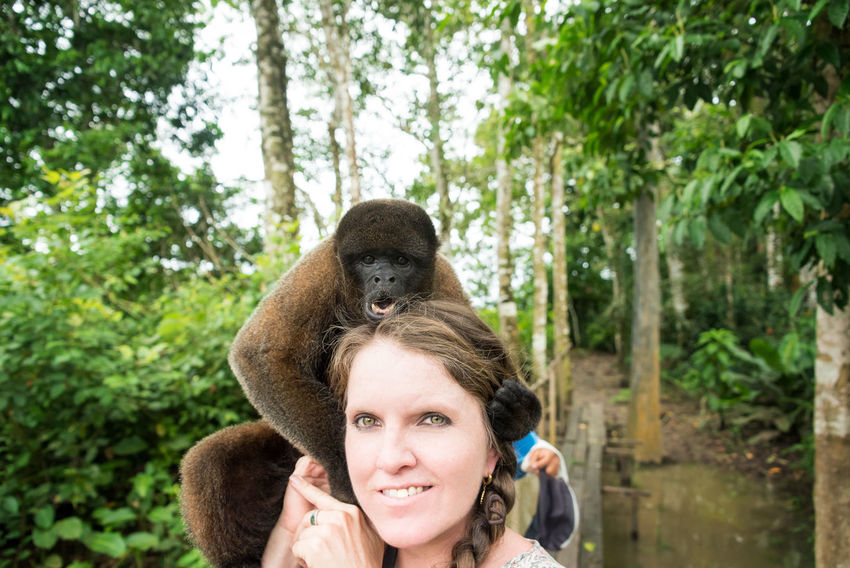Woolly monkey on the head of a tourist woman in the Amazon near Iquitos, Peru Amazon Amazonas Amazonia Beautiful Close-up Day Iquitos  Jungle Mammal Monkey Nature One Animal Outdoors Person Peru Rain Forest Rainforest South America Tree Women Woolly Woolly Monkey