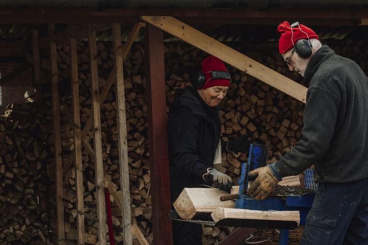 Man working on wood